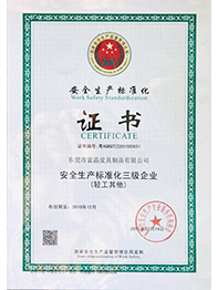 安全生化标准化证书